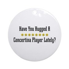 Hugged Concertina Player Ornament (Round)