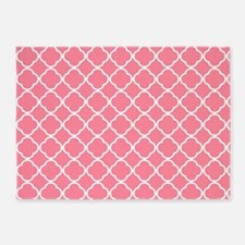 Coral Pink Quatrefoil pattern 5'x7'Area Rug