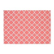 Coral red Quatrefoil pattern 5'x7'Area Rug