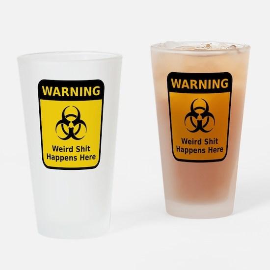 Weird Warning Sign Drinking Glass