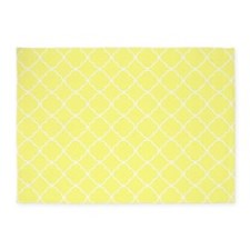 Sunshine yellow Quatrefoil pattern 5'x7'Area Rug