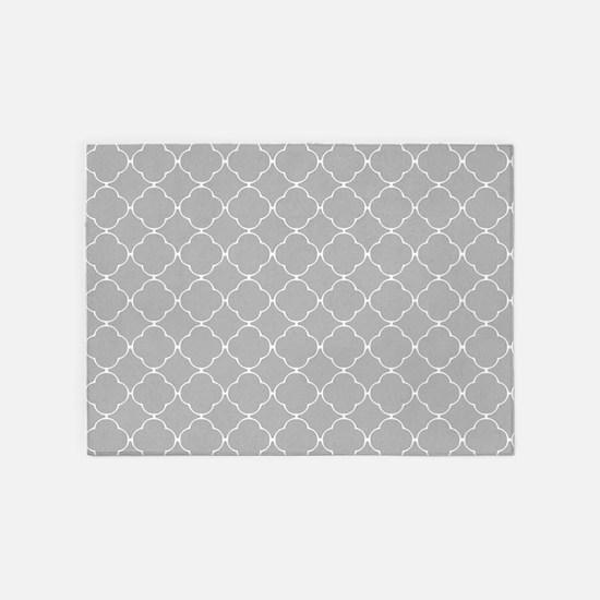 Gray Quatrefoil pattern 5'x7'Area Rug