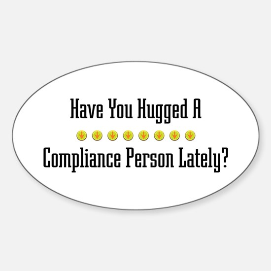 Hugged Compliance Person Oval Decal