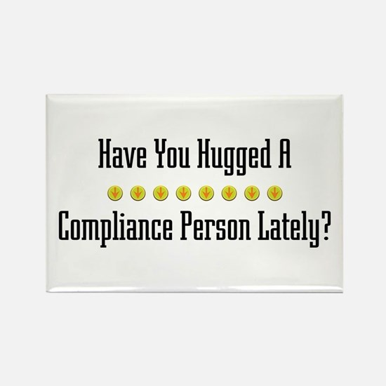 Hugged Compliance Person Rectangle Magnet