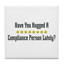 Hugged Compliance Person Tile Coaster