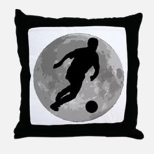 Soccer Player Moon Throw Pillow