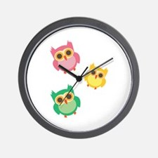 Colorful Owls Wall Clock