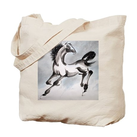 Front and Back brushpainted Horse Tote Bag