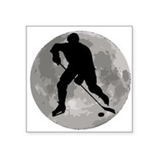 Hockey Player Moon Sticker