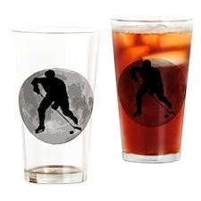 Hockey Player Moon Drinking Glass