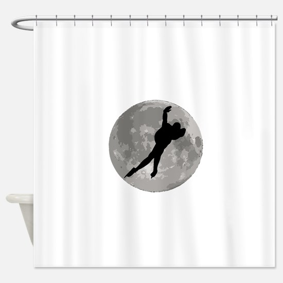 Speed Skater Moon Shower Curtain