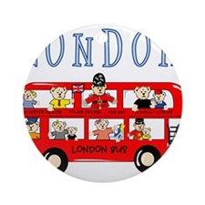 London Bus Ornament (Round)