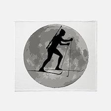 Biathlete Moon Throw Blanket