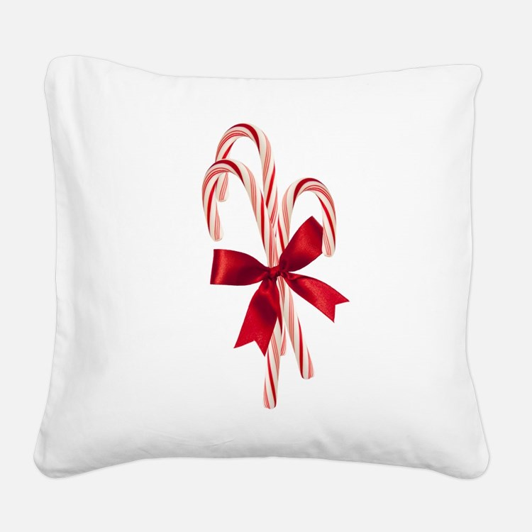 Candy Canes Square Canvas Pillow