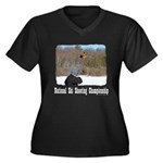 Ski Shooting Women's Plus Size V-Neck Dark T-Shirt