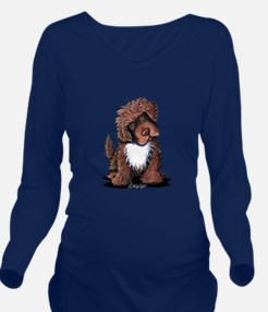 Brown & White Newfie Long Sleeve Maternity T-Shirt