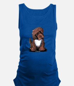 Brown & White Newfie Maternity Tank Top