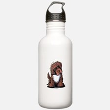Brown & White Newfie Water Bottle