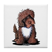 Brown & White Newfie Tile Coaster