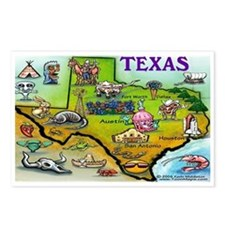 Cool Austin texas cartoon map Postcards (Package of 8)