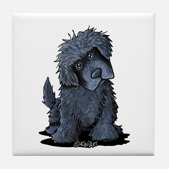 Black Newfie Tile Coaster