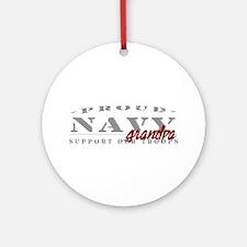 Proud Navy Grandpa (red) Ornament (Round)