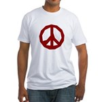 Ragged Red Peace Sign Fitted T-Shirt