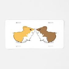 Hamster Kisses Aluminum License Plate