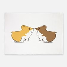 Hamster Kisses 5'x7'Area Rug