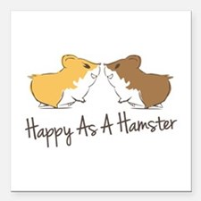 "Happy Hamster Square Car Magnet 3"" x 3"""