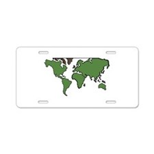 Flat Continents Map Aluminum License Plate