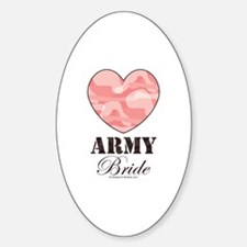 Army Bride Pink Camo Heart Oval Decal