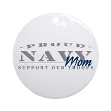 Proud Navy Mom (blue) Ornament (Round)