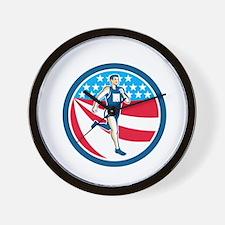 American Marathon Runner Running Circle Retro Wall
