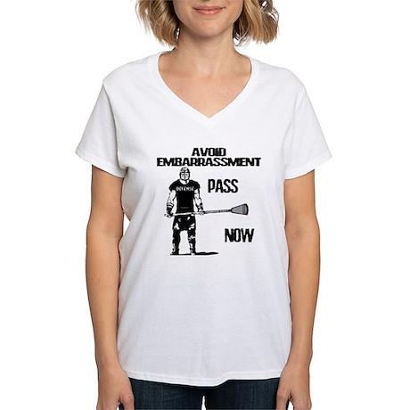 Lacrosse Defense Pass Women's V-Neck T-Shirt