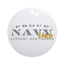 Proud Navy Uncle (gold) Ornament (Round)
