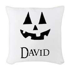 David Halloween Pumpkin face Woven Throw Pillow
