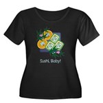 Sushi Baby Women's Plus Size Scoop Neck Dark T-Shi