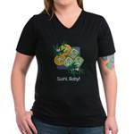 Sushi Baby Women's V-Neck Dark T-Shirt