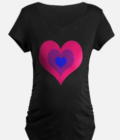 Bisexual Hearts Stacking Maternity T-Shirt