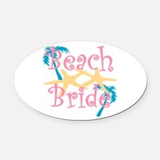 Beachbride2pink.png Oval Car Magnet