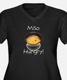 Miso Hungry Women's Plus Size V-Neck Dark T-Shirt