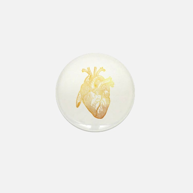 Anatomical Heart - Gold Mini Button