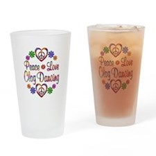 Peace Love Clog Dancing Drinking Glass