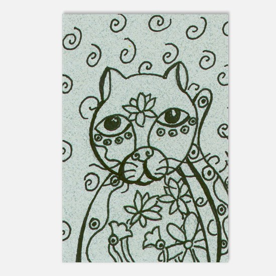 Cat with Lotus Tattoos Postcards (Package of 8)
