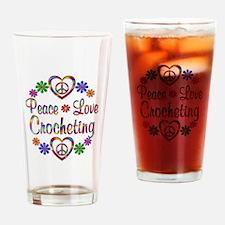 Peace Love Crocheting Drinking Glass