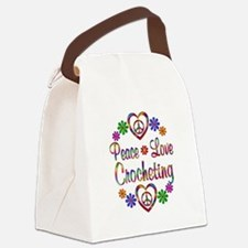 Peace Love Crocheting Canvas Lunch Bag