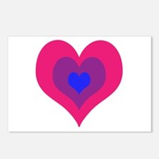 Bisexual Hearts Stacking Postcards (Package of 8)
