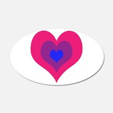 Bisexual Hearts Stacking Wall Sticker