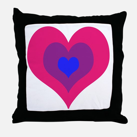 Bisexual Hearts Stacking Throw Pillow